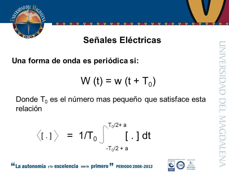 W (t) = w (t + T0) = 1/T0 [ . ] dt Señales Eléctricas